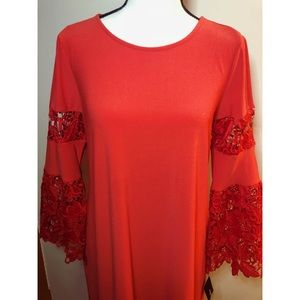 Alfani Petite Red Dress with Floral Designed